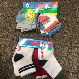 Hanes Toddler Boys 6-12 month Sock Lot